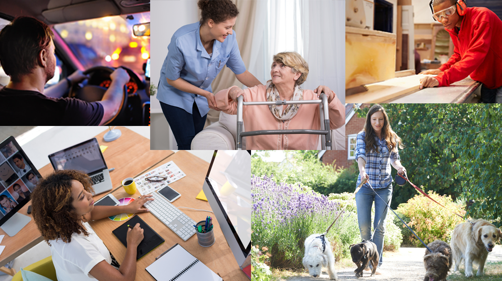 Collage of workers, including in-home health aid, wood worker, dog walker, Uber driver, and office worker.